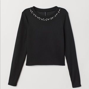 Black Ribbed Long Sleeve Jersey Top